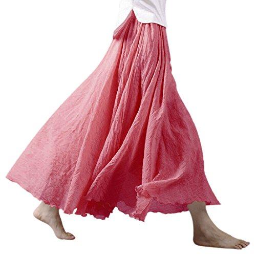 Red donna lunga doppio e girovita elastico di da Watermelon gonna N cotone Life con lino a strato 6wqaTg