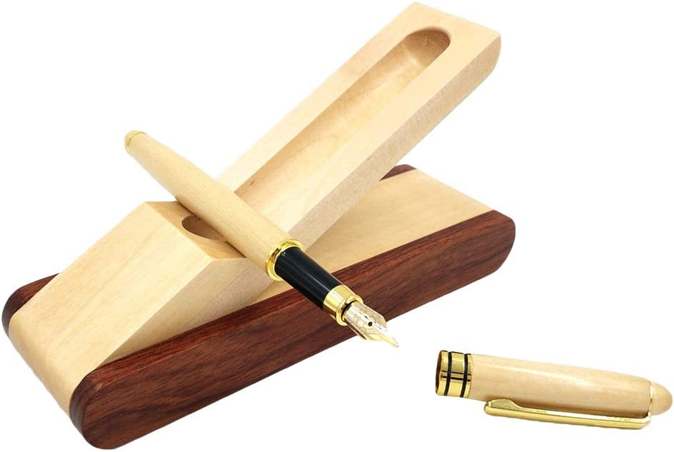 Toyvian - Juego de pluma estilográfica de madera de arce con caja de suministros de oficina y escuela: Amazon.es: Hogar