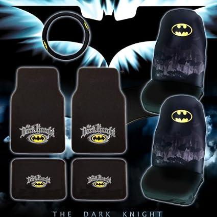 Batman The Dark Knight Logo Car Seat Covers Carpet Floor Mats With Steering Wheel Cover