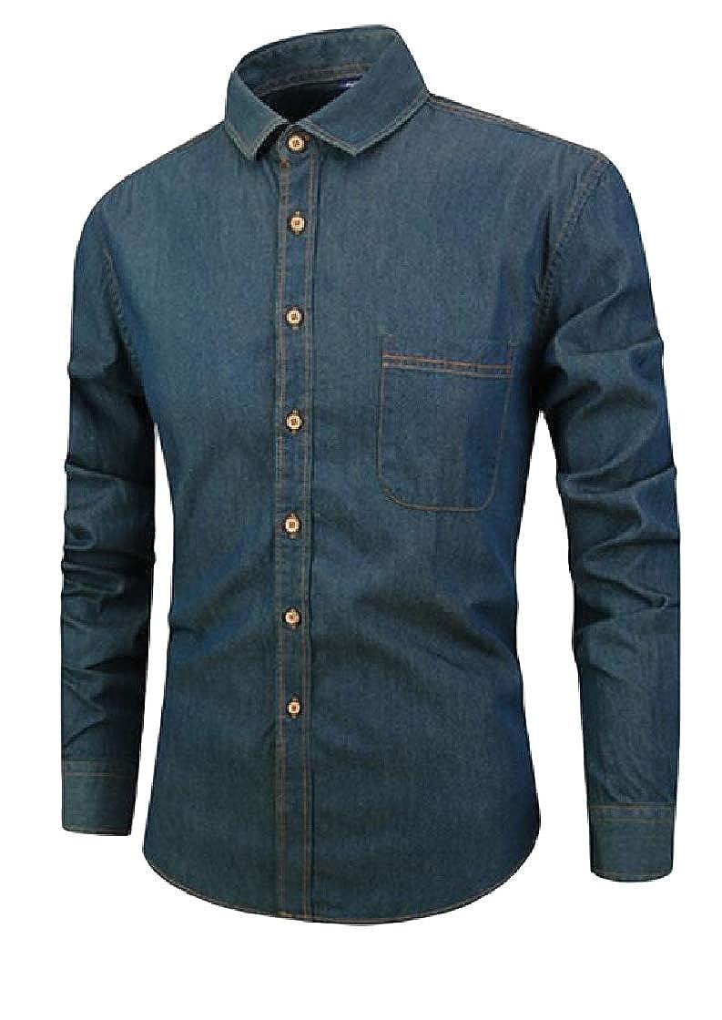 Etecredpow Mens Long Sleeve Stylish Button Front Lapel Denim Shirts