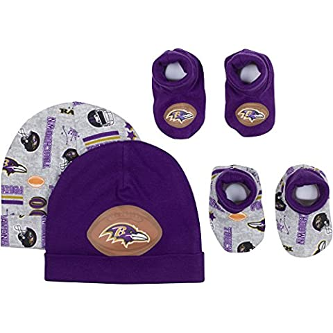 NFL Baltimore Ravens 2 Baby Caps and 2 Booties Set, 0-6 Months, Purple/Gray (Auction Kings Season 3)