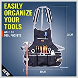 Utility Canvas Work Apron with 18 Tool Pockets, Cross-Back Straps Adjustable Size, Fits Men & Women, Protective and Waterproof