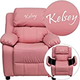Winston Direct Kids' Series Personalized Deluxe Padded Pink Vinyl Recliner with Storage Arms