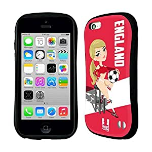 Head Case Designs England Football Pin-ups Hybrid Gel Back Case for Apple iPhone 5c by ruishername