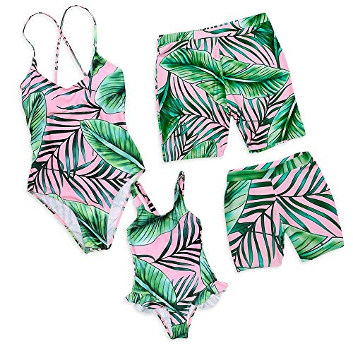 bc4a51584b Family Matching Swimsuit One Piece Mommy and Me Monokini Tropical Printed  Beach Swimwear (Pink,