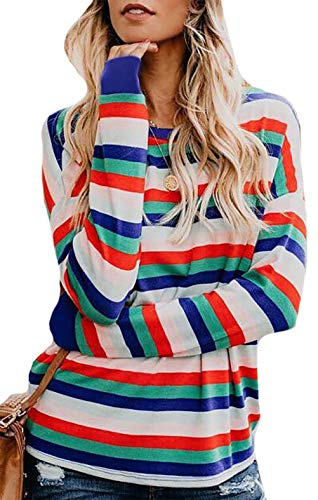 JINTING Women Casual Loose Striped Color Block Long Sleeve Tee T-Shirt Tops Blouse ()