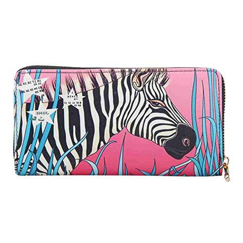 TJEtrade Wallet for Women Leather Zipper Print Long Card Holder Purses PU Phone Clutch (Zebra-Rose)