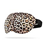 Quality Eye Masks with Eyes for Sleeping Soft,CONISY Beauty Cotton Sleep Mask Cover with Adjustable Strap for Women Men and Girls - 2pack (Leopard and Black)