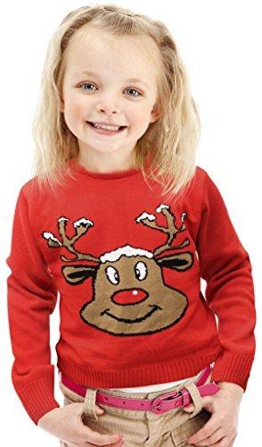 Maglia Natale - Reno Sorridente Rosso - Bambini