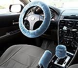 10 steering wheel with horn - Zone Tech Non-slip Car Decoration Steering Wheel Handbrake Gear Shift Plush Cover (Blue)