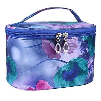 fe332cf7c75c Leoy88 Flower Cosmetic Bag Women Makeup Bag Portable (Navy) chic ...