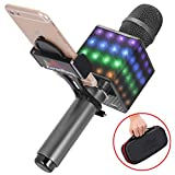 Wireless Bluetooth Karaoke Microphone - Portable KTV Karaoke Machine with Speaker, LED Lights and Bonus Phone Holder Perfect for Pop, Rock n Roll Parties, Solo Parties and More (H8 2.0 Dark Gray)