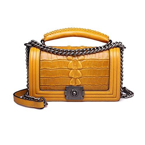 Shemu Classic Embossed Crocodile Leather Tote Purse Cross Body Handbags 8853 Yellow Croco Zgf8853