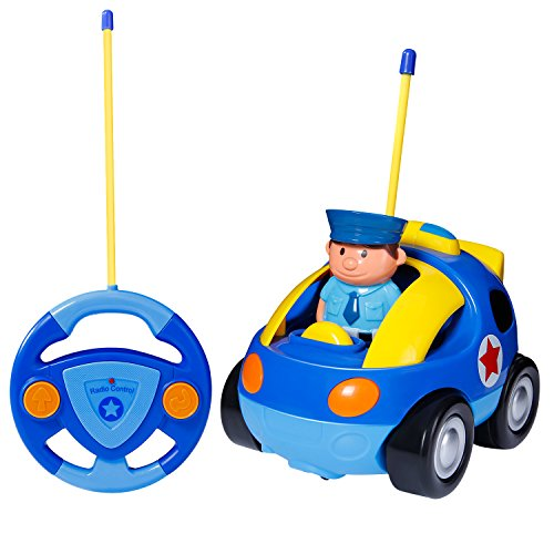 SGILE RC Cartoon Car Toy for Kids Birthday Gift Present, Remote Control with Light Music Radio for Toddlers Baby Kids Child, Blue -