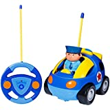 SGILE RC Police Race Car Train Toy for Kids Birthday Gift Present, Remote Control with Light Music Radio for Toddlers Baby Kids Child,Blue