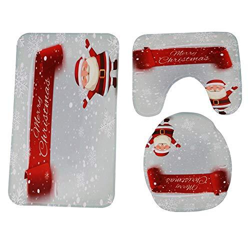 JPJ(TM) New❤Bathroom Mat❤3Pcs/Set Christmas Hot Fashion Bathroom Non-Slip Pedestal Rug + Lid Toilet Cover + Bath Mat Set (D) by JPJ(TM) _Christmas products