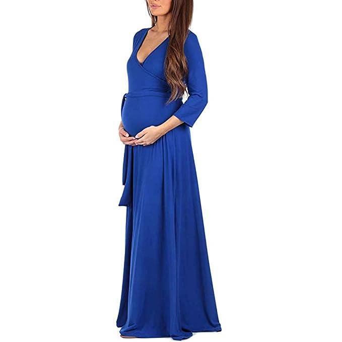 Lenfesh_Vestidos de Maternidad Otoño Invierno Vestido de Mujeres Vestido Largo con Manga Larga Color sólido Vestido