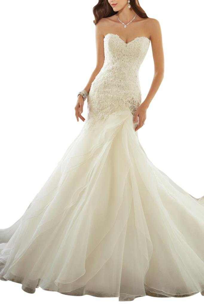 MILANO BRIDE Charming Fit&Flare Sweetheart Applique Church Hall Wedding Gown Out-22W-White
