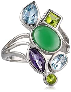 Sterling Silver Amethyst, Blue Topaz, Peridot and Green Jade Ring, Size 7