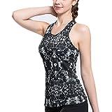 Lorsoul Women's Sports Yoga Fitness Racerback Tank Top Padded Built in Bra Running Sleeveless Vest (Small, Diamond Flower)