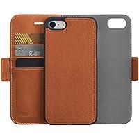 AmazonBasics iPhone 8 / 7 PU Leather Wallet Detachable Case (Brown)