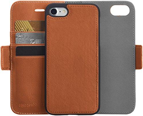 AmazonBasics iPhone 8 / 7 PU Leather Wallet Detachable Case, Brown