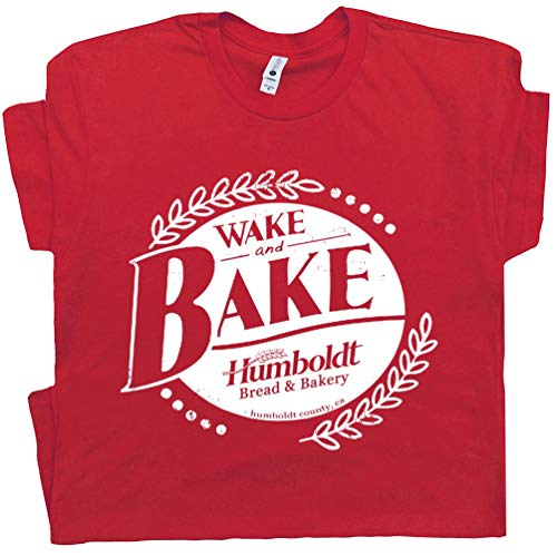 M - Wake and Bake T Shirt Funny Marijuana Humboldt Tee Pot Leaf Logo Dazed Stoner and Confused 420 Weed Red (Shirts With Weed Logo)
