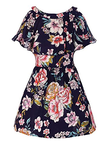 Naughty Niños Girls' Viscose Navy Printed Cold Shoulder Dress Dresses & Jumpsuits at amazon