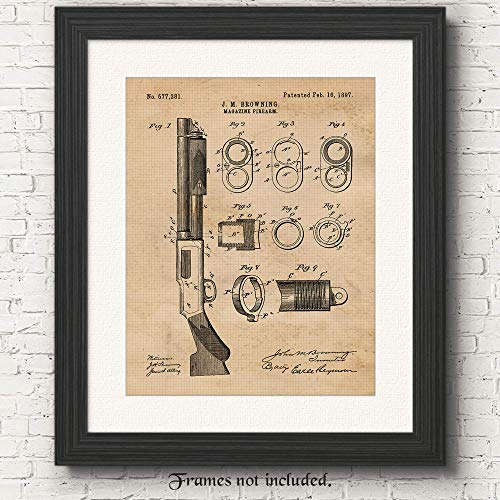 Vintage Remington Shotgun Rifle Patent Poster Prints, Set of 1 (11x14) Unframed Photo, Wall Art Decor Gifts Under 15 for Home, Office, Shop, Man Cave, Student, Teacher, Cowboys, NRA & Movies Fan