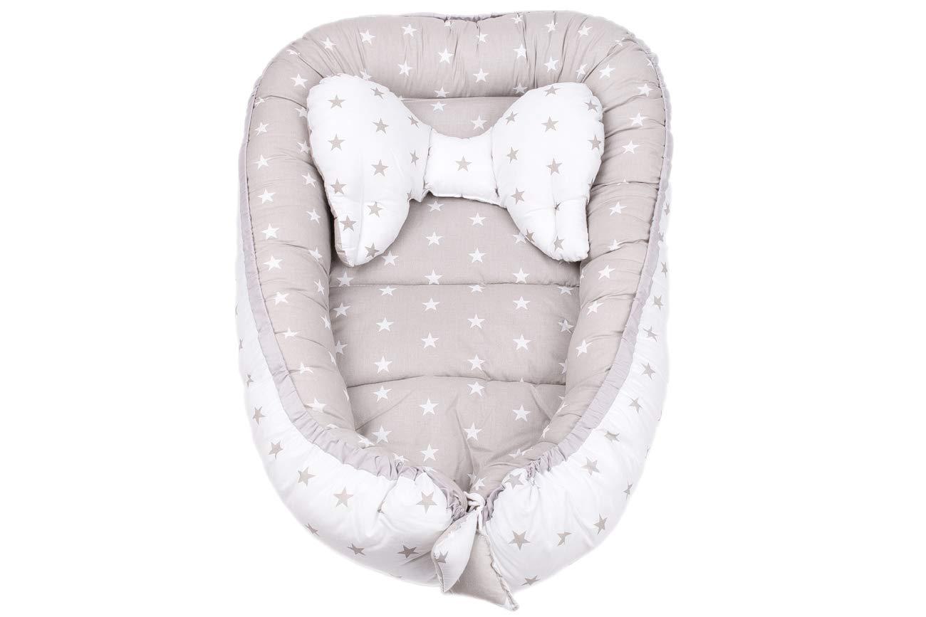 Kopfkissen Schmetterling zweiseitig Babynest Babynestchen Kuschelnest f/ür Babys S/äuglinge 90 x 64 cm Reisebett Kokon inkl