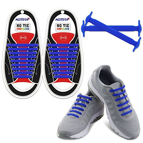 HOMAR Reflective No Lock No Tie Shoelaces with High Performance - Best in No Tie Shoelace Replacement Accessories - Athletic Flat Shoe Laces - Blue