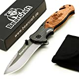 BearCraft Folding Knife in Carbon Design | Outdoor Survival Spring Assisted Pocket-Knife | One-hand rescue knife with glass breaker and belt cutter
