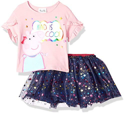 Peppa Pig Girls Toddler Peppa 2 Pc Ss Kind is Cool Tee and Skirt Set