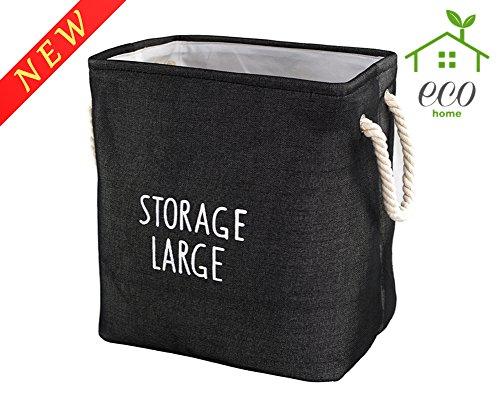 Rectangular Storage Organizer Cube Large Deppened Foldable Basket Collapsible Bin With Handles Black