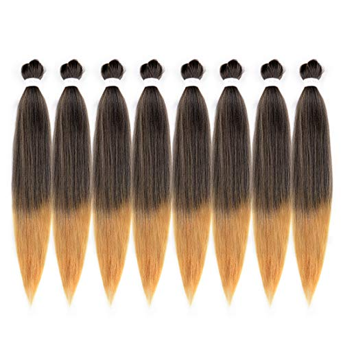 Riverwood 26 inch 8 Packs Ombre Two Tone Pre-Stretched Easy Braiding Hair 99.99% Hot Water Setting Organic Synthetic Fiber Yaki Texture EZ Braids Hair Extensions #T1b/27(Black to Strawberry Blonde) (Best Place Get Kanekalon Braiding Hair)