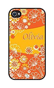 iZERCASE Personalized Orange Flowers Pattern RUBBER iphone 4 case - Fits iphone 4, iphone 4S T-Mobile, AT&T, Sprint, Verizon and International