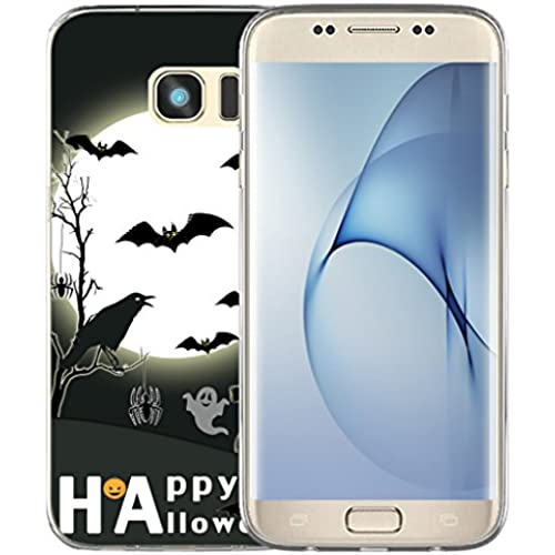 S7 Edge Case Halloween Design / IWONE Samsung Galaxy S7 Edge Case Tpu Skin Cover Protective Rubber Silicone + Happy Halloween Quotes Design Bat Crow Sales