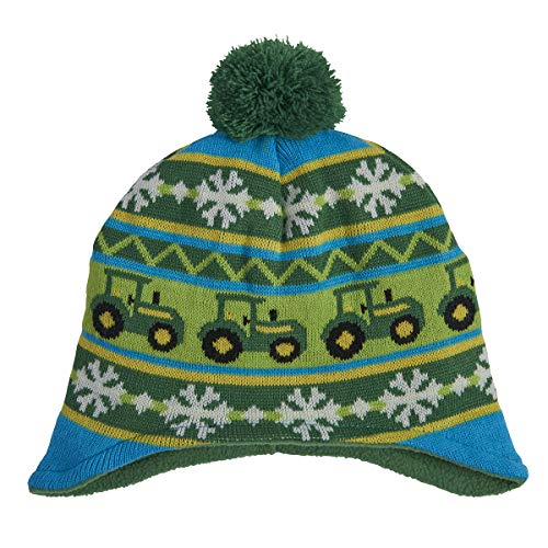 John Deere Boys' Little Winter Hat, Green/Yellow, -