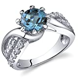 Regal Helix 1.50 carats London Blue Topaz Ring in Sterling Silver Rhodium Nickel Finish Size 7