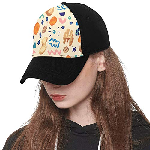Front Panel Custom Dried Raisins Sweet and Sour Snacks Printing Baseball Hat Adjustable Size Curved Cap for Hip-hop Sports Summer Beach Outdoor Activities Unisex