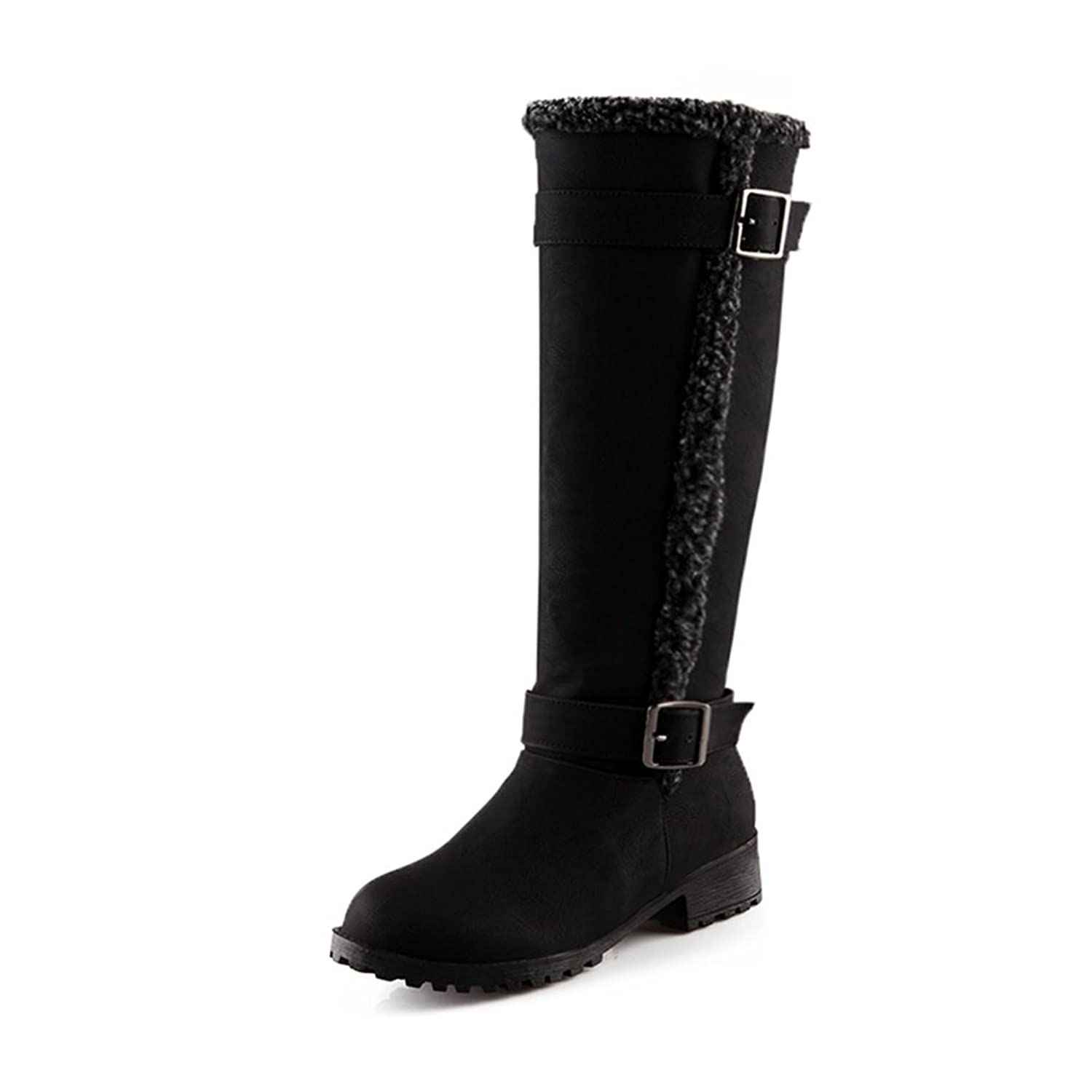 Agowoo Womens Vintage Fur Knee High Thick Sole Suede Warm Boots