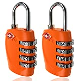TSA Luggage Locks, 4 Digit Combination Steel Padlocks, Approved Travel Lock for Suitcases & Baggage (2 Pack)