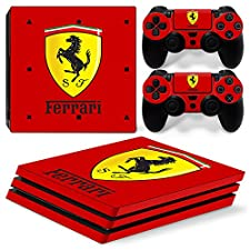 Ps4 PRO Playstation 4 Console Skin Decal Sticker Ferrari + 2 Controller Skins Set (PRO Only)