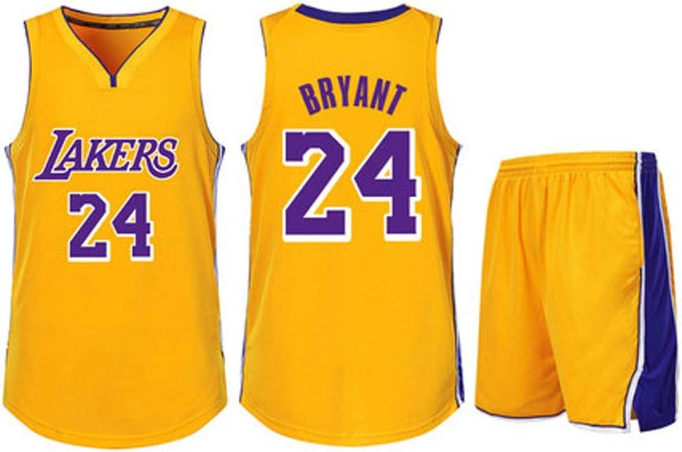 Kobe Bryant Jersey gelb Maschinenw/äsche Los Angeles Lakers 24 Trainingsanz/üge mit Oberteilen und Hosen Niedertemperaturtrocknung Polyester