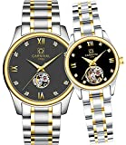CARNIVAL His or Hers Automatic Mechanical Couple Watch Men and Women Gift Set of 2 (Gold Black)