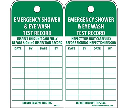 National Marker Corp. RPT37ST Tags, Emergency Shower And Eye Wash Test Record, 6 Inch X 3 Inch, Synthetic Paper, 25/Pk (Hole)