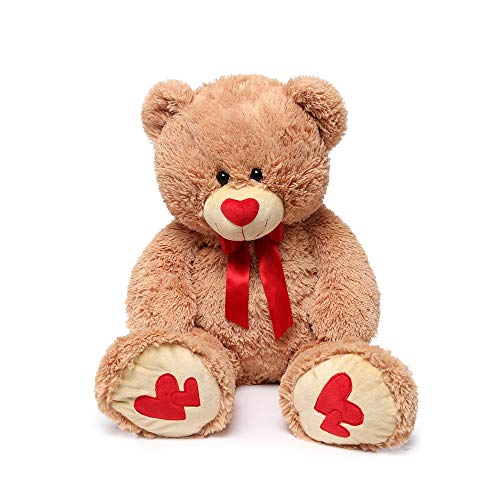 MorisMos Giant Teddy Bear with Red Love Footprint Soft Brown Bear Stuffed Animal Plush Bear for Girlfriend Kids,35 Inches