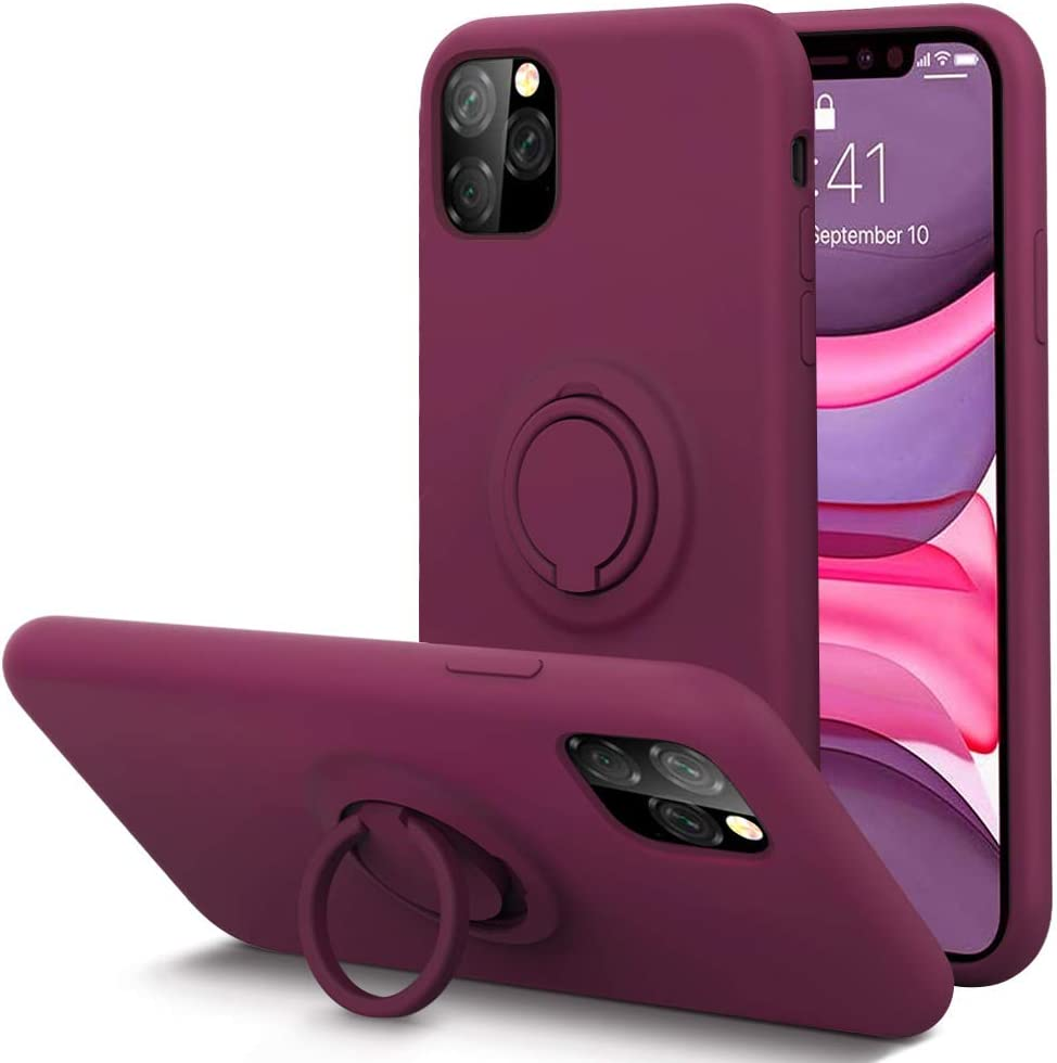 KUMEEK for iPhone 11 Pro Max Case Fingerprint | Kickstand | Anti-Scratch | Microfiber Liner Shock Absorption Gel Rubber Full Body Protection Liquid Silicone Case for iPhone 11 Pro Max-WineRed