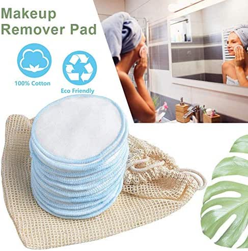 Bamboo Makeup Remover Pads Reusable Organic Bamboo Cotton Rounds Toner Pads with Laundry Bag, 3 Layers Washable Facial Cleansing Cloths for Eye Makeup Remove Face Wipe (10 Pack)