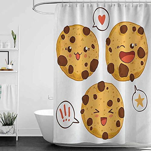 homecoco Shower Curtains no Hooks Kawaii,Three Chocolate Chip Cookies with Different Expressions Japanese Inspirations,Brown Pale Brown W36 x L72,Shower Curtain for Shower stall